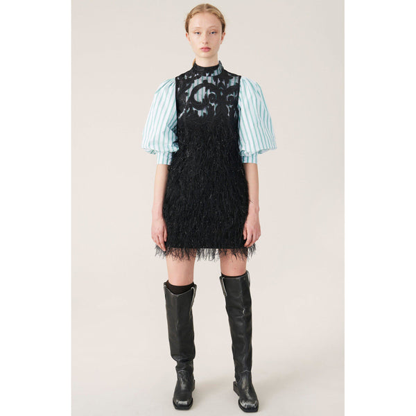 CLOTHING - Feather Cotton Mini Dress Black