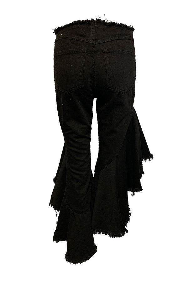 CLOTHING - Frill Jeans Black