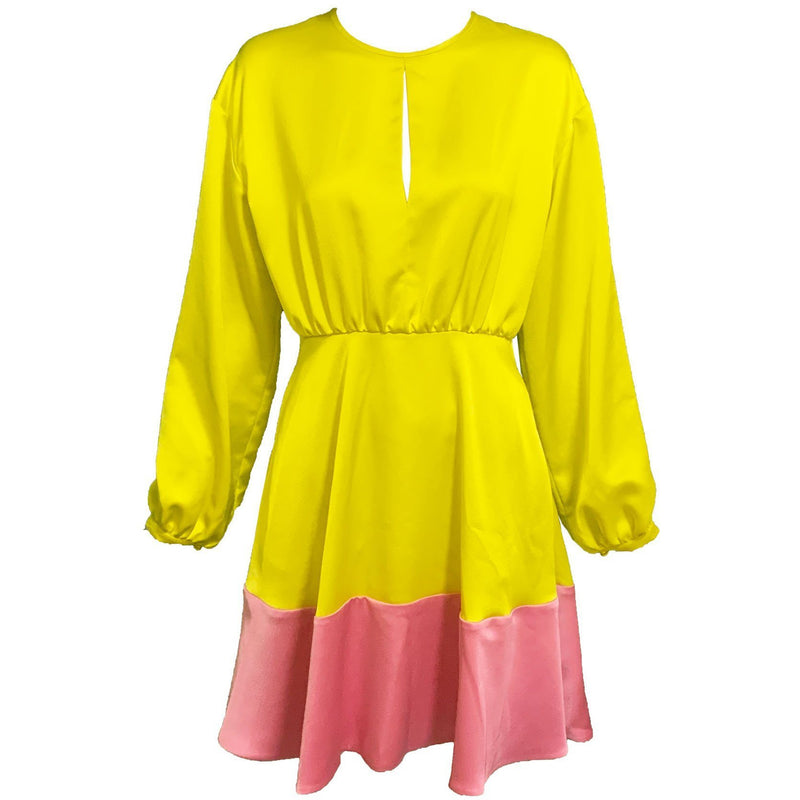 CLOTHING - Long Sleeve Colorblock Dress Yellow