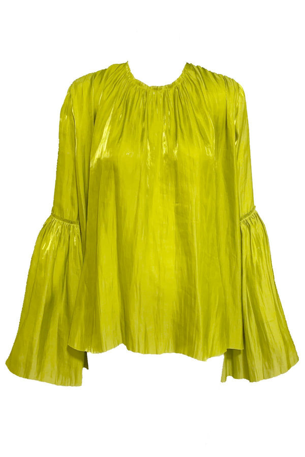 CLOTHING - Long Sleeve Ruffle Top Lime