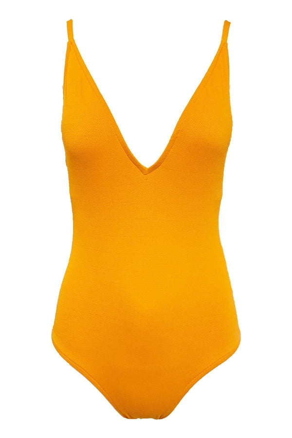 CLOTHING - Mallot Basic Textured Bathing Suit Tangerine