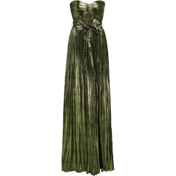 CLOTHING - Metallic Plissé Strapless Gown Lime