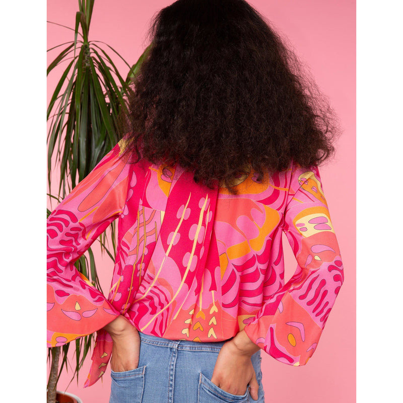 CLOTHING - Moss Top Pink Psychedelic Butterfly