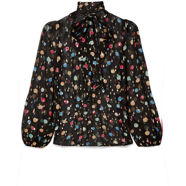 CLOTHING - Moss Watercolor Spot Top Black