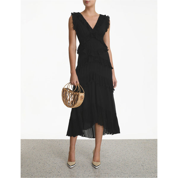 CLOTHING - Pleated Frill Midi Black