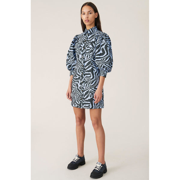 CLOTHING - Printed Cotton Poplin Dress Forever Blue