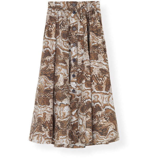 CLOTHING - Printed Cotton Poplin Maxi Skirt Tiger's Eye