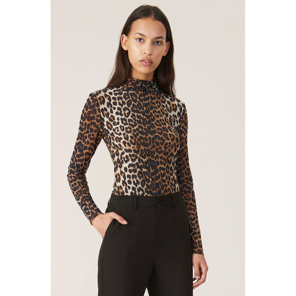 CLOTHING - Printed Mesh Rollneck Leopard