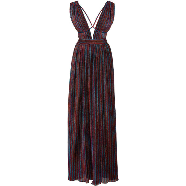 CLOTHING - Rainbow Pleats V-Neck Maxi Dress