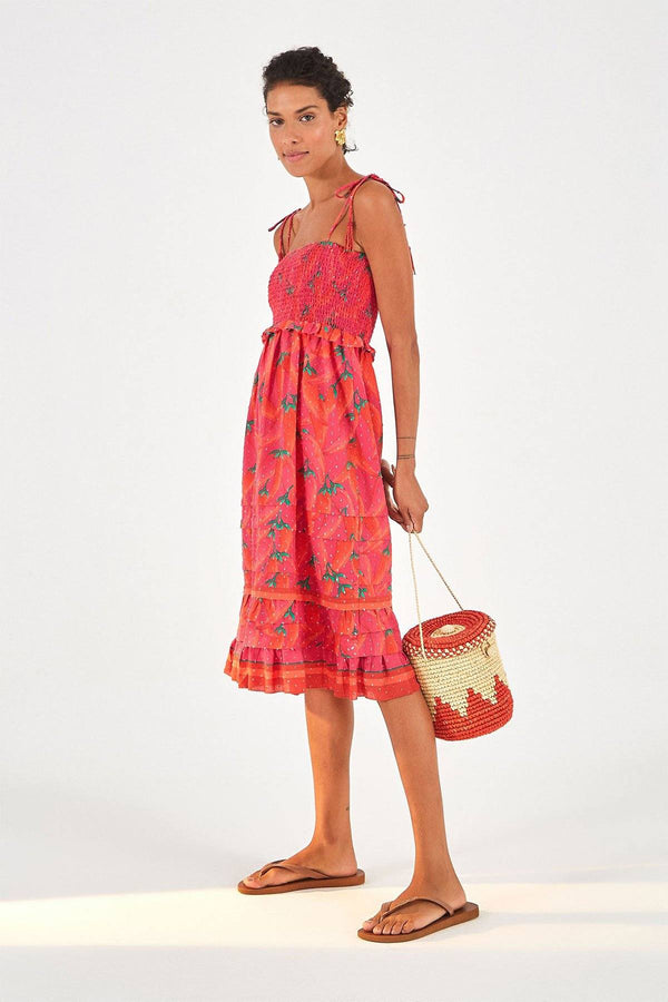 CLOTHING - Red Pepper Midi Dress Red Multi