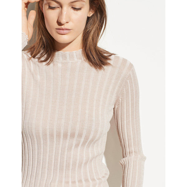 CLOTHING - Ribbed Wool Mock Neck Pullover Chiffon