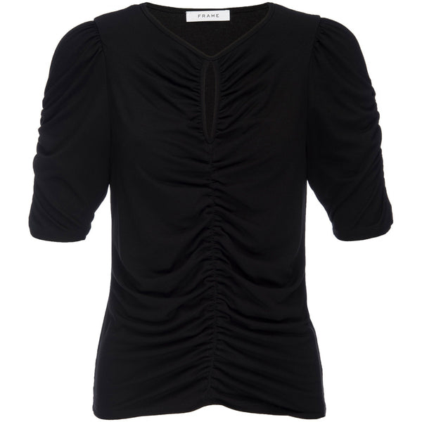 CLOTHING - Shirred Keyhole Knit Top Noir