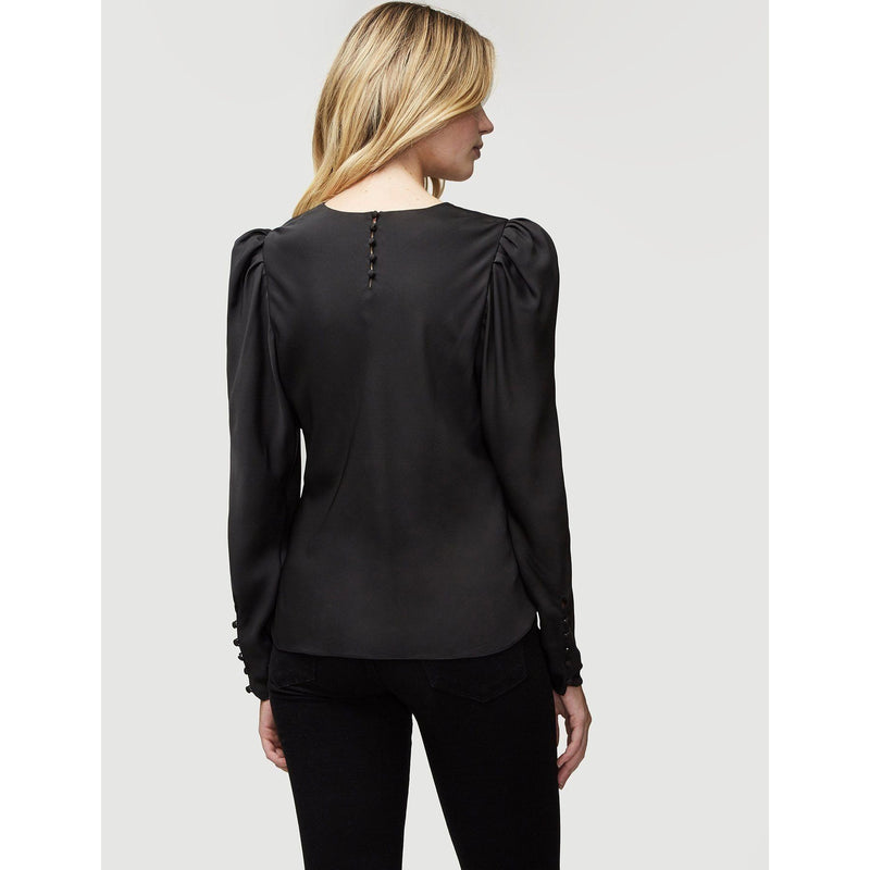 CLOTHING - Silk Shirred V-Neck Top Noir