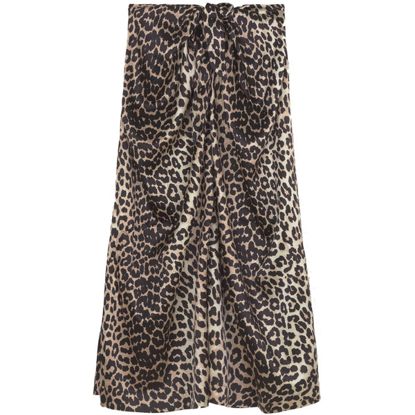 CLOTHING - Silk Stretch Satin Skirt Leopard
