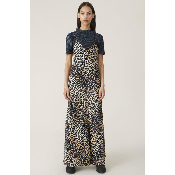 CLOTHING - Silk Stretch Satin Slip Dress Leopard