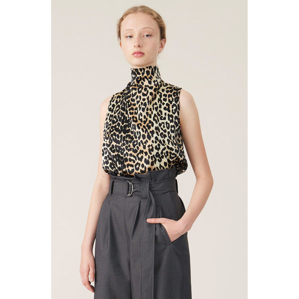 CLOTHING - Silk Stretch Satin Top Leopard