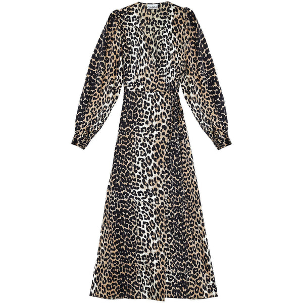 CLOTHING - Silk Stretch Satin Wrap Dress Leopard