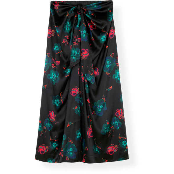 CLOTHING - Silk Wrap Skirt Black