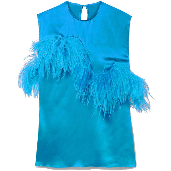CLOTHING - Sleeveless Satin Feather Top Turquoise