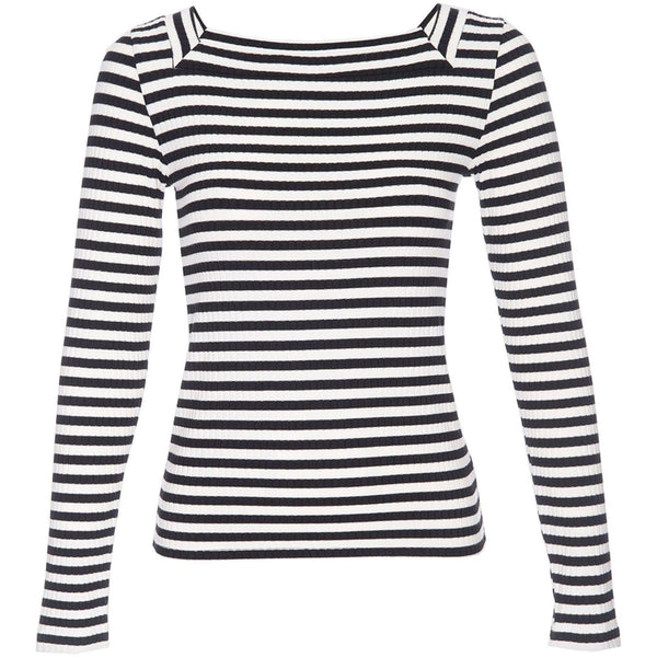 CLOTHING - Stripe Bateau Long Sleeve Noir