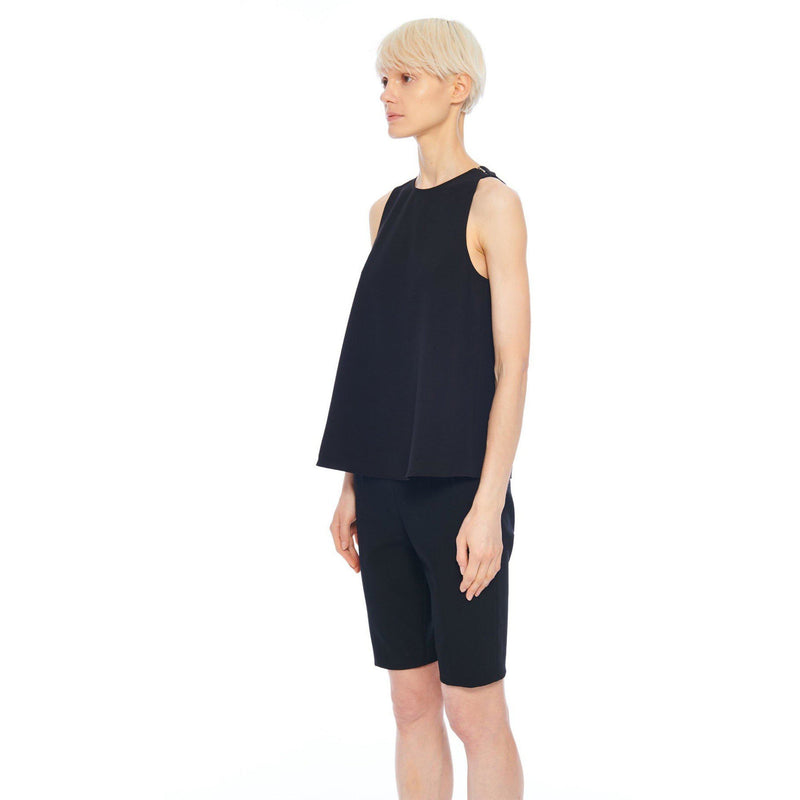 CLOTHING - Structured Crepe Tank Black