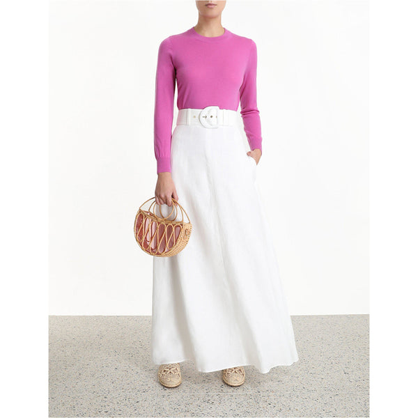 CLOTHING - Super Eight Linen Skirt Ivory