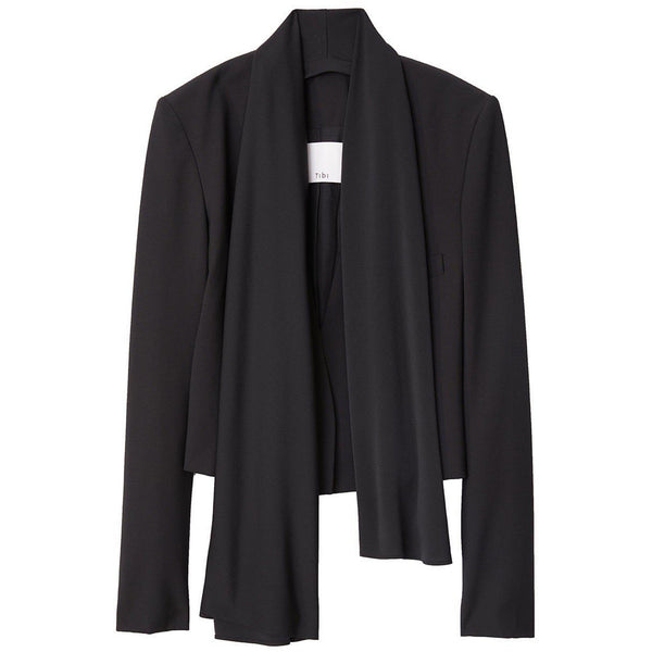 CLOTHING - Tropical Wool Cropped Scarf Blazer Black