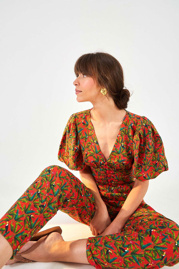 CLOTHING - Tucano Paradise Open Back Jumpsuit Red Multi