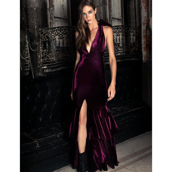 CLOTHING - Velvet Plunge Maxi Dress Bordeaux