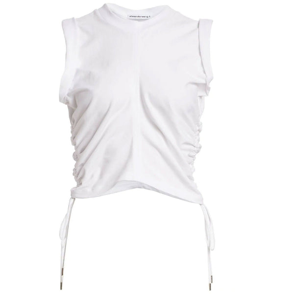 CLOTHING - Wash & Go High Twist Jersey Crop Top White