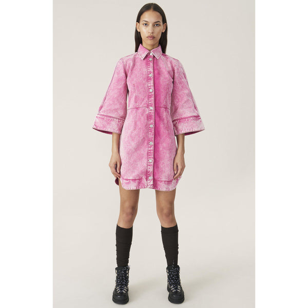 CLOTHING - Washed Denim Dress Fuchsia Red