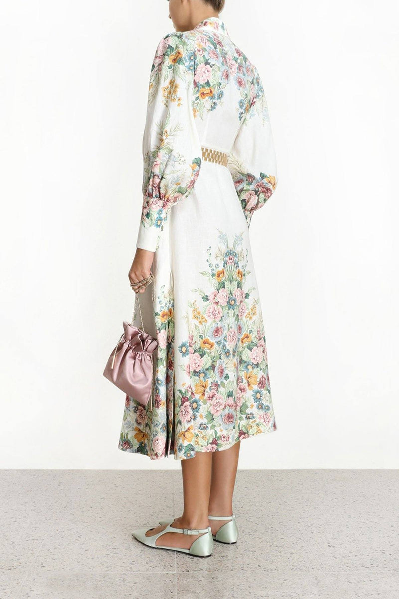 CLOTHING - Wavelength Bell Sleeve Midi Dress Cream Daphne