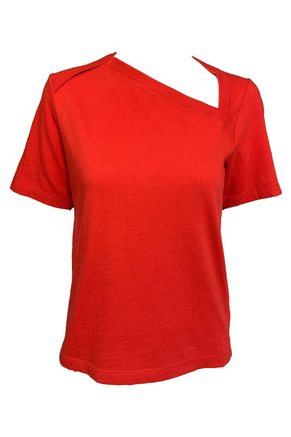 CLOTHING - Zoey Asymmetric Neckline Tee Flame Red