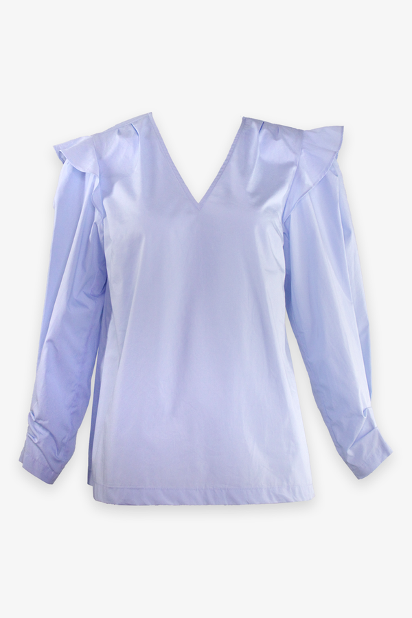 Oona V-Neck Ruffle Blouse in Pale Blue