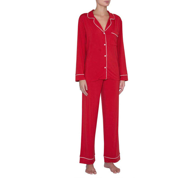 Gisele Long PJ Set Haute Red / Ivory-EBERJEY-shop-olivia.com