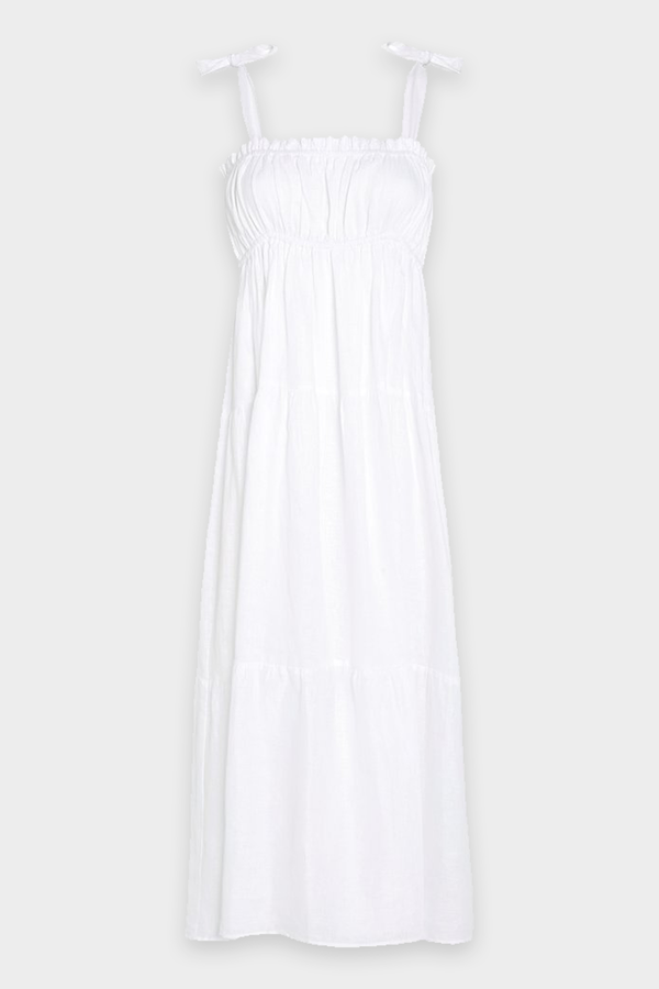 Bellamy Midi Dress in Plain White