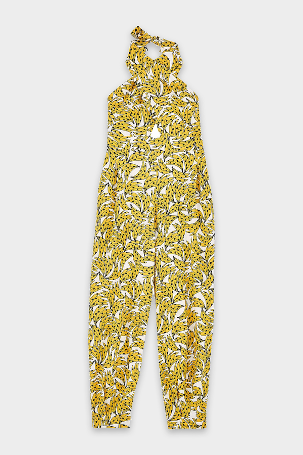 White Spotted Bananas Jumpsuit in Multi