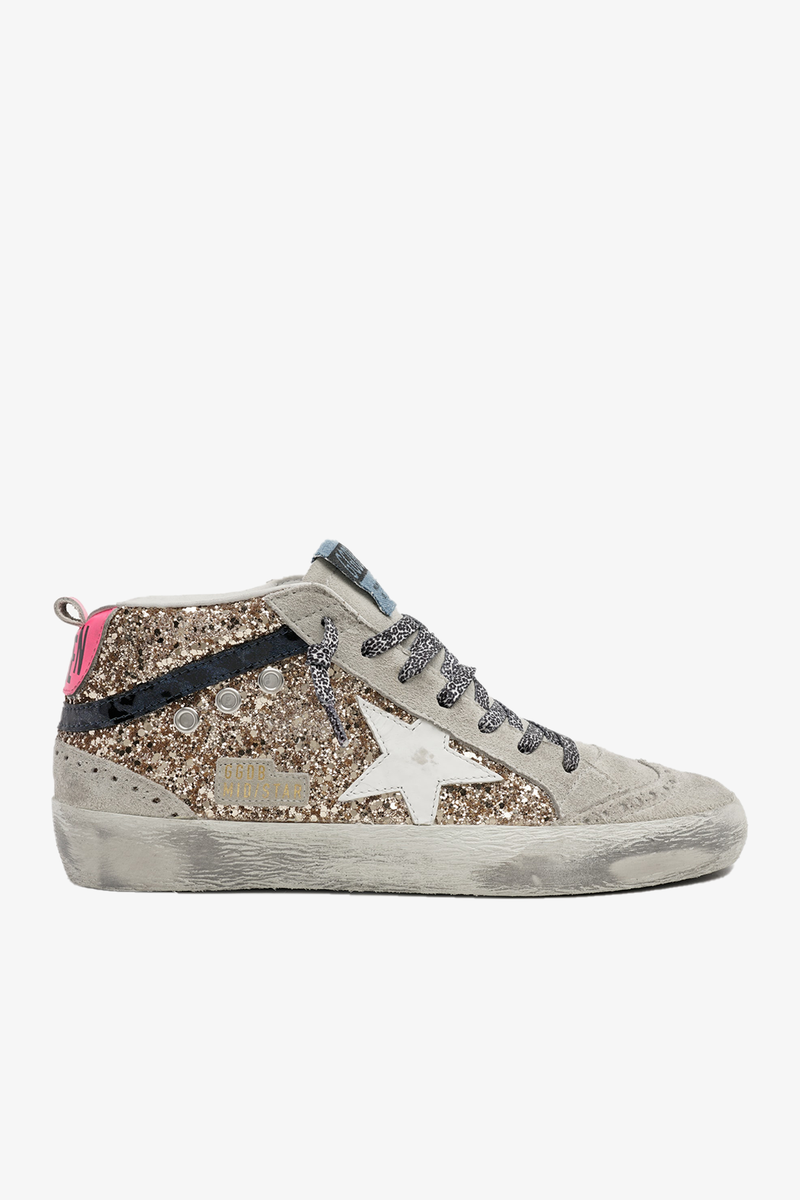 Mid-Star Glitter Maculated Print Wave Sneaker