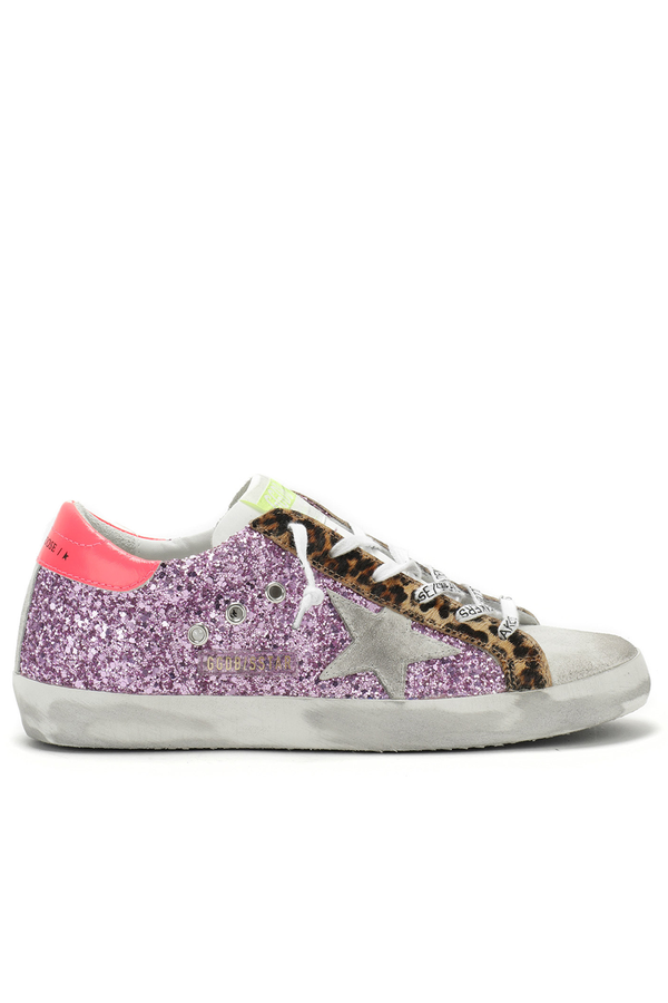 Superstar Fuxia Glitter and Leopard Sneakers