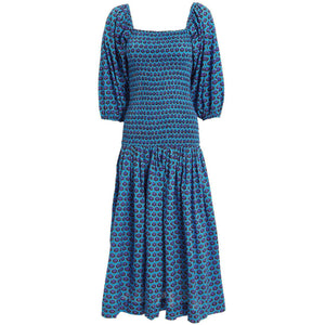Harper Dress Blue Ikat