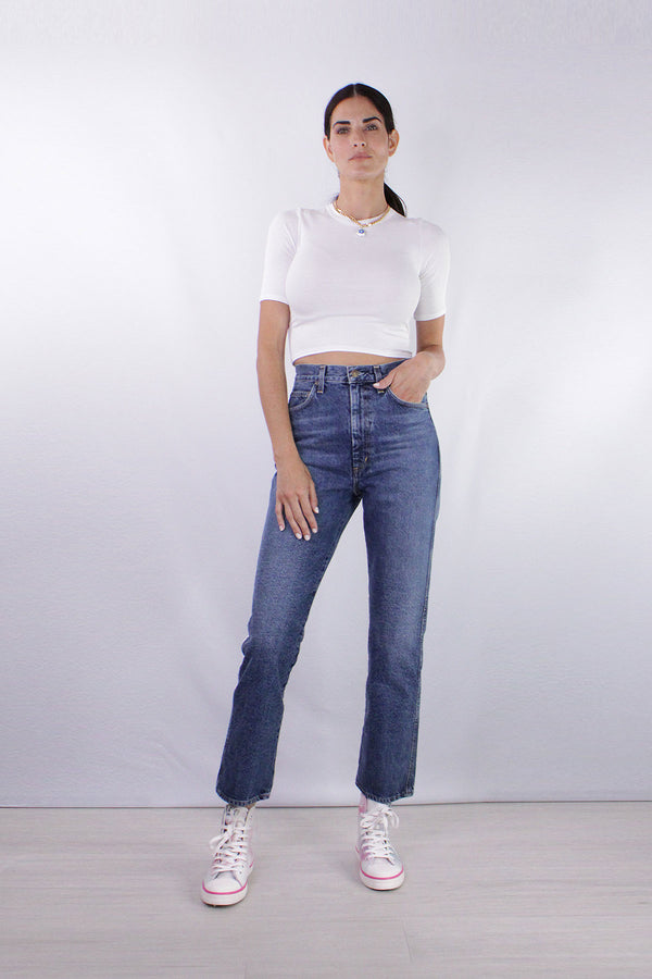 Silk Rib Cropped Half Sleeve Crew in White