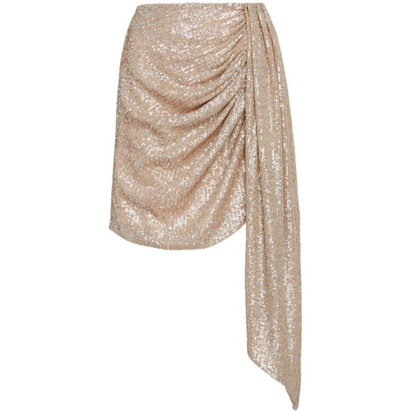 Sequin Embroidered Drape Front Mini Skirt Champagne
