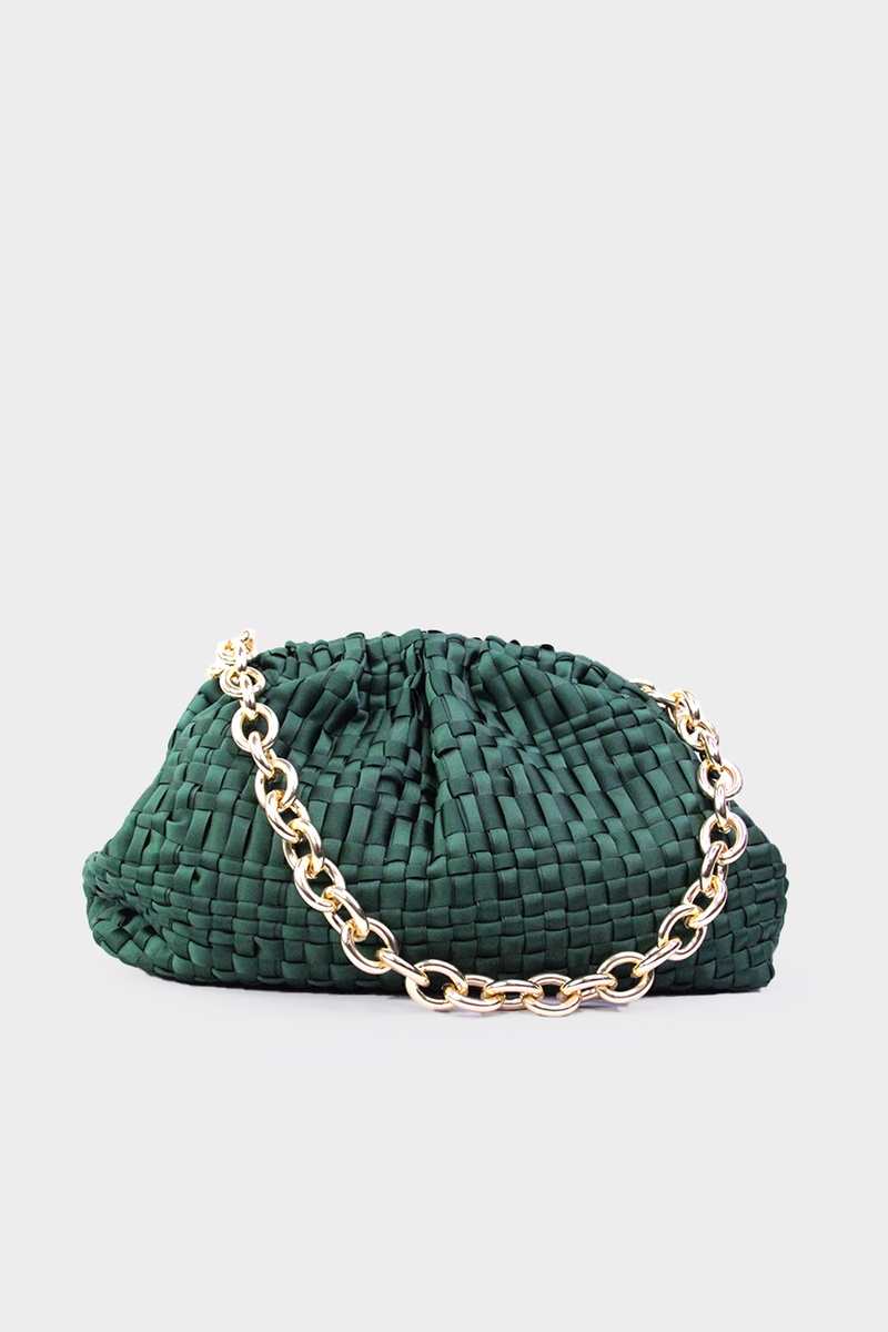 Game Ribbon Clutch Bag in Forrest Green