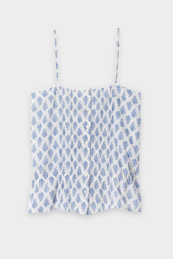 Shelia Cami Top in Blue White Paisley