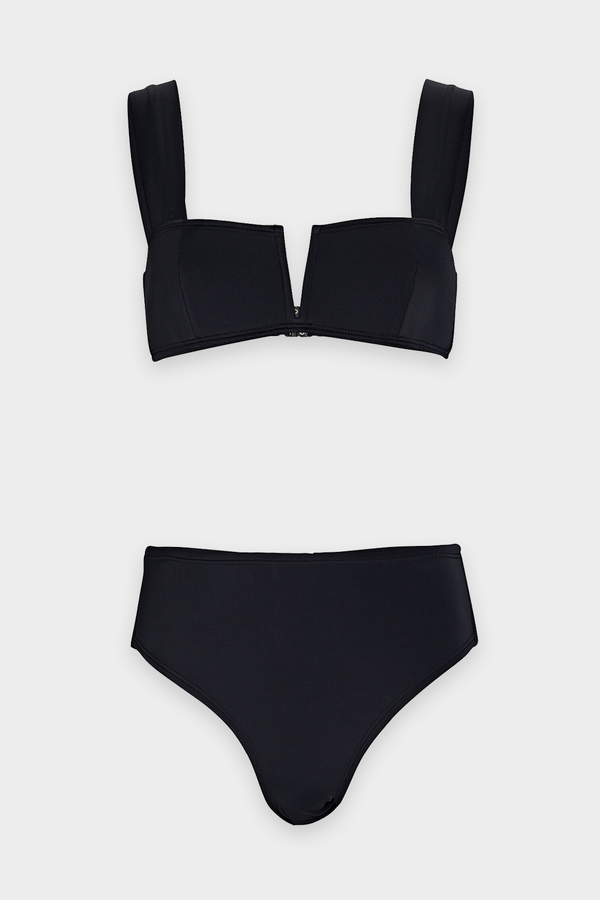 Victoria High Rise Bikini Set in Black