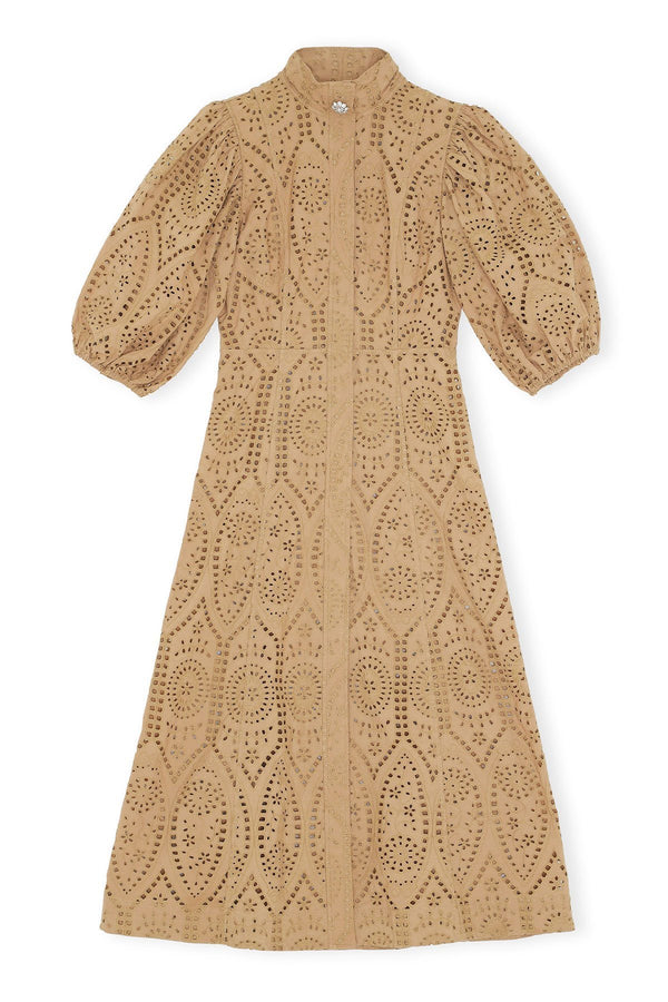 PRE-ORDERS - Broderie Anglaise Dress Tannin