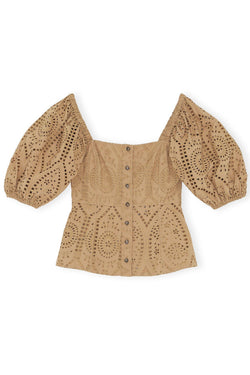 PRE-ORDERS - Broderie Anglaise Puff Sleeve Top Tannin