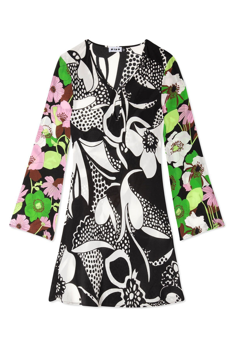 PRE-ORDERS - Julie Mini Dress Abstract 60's Floral Swirl