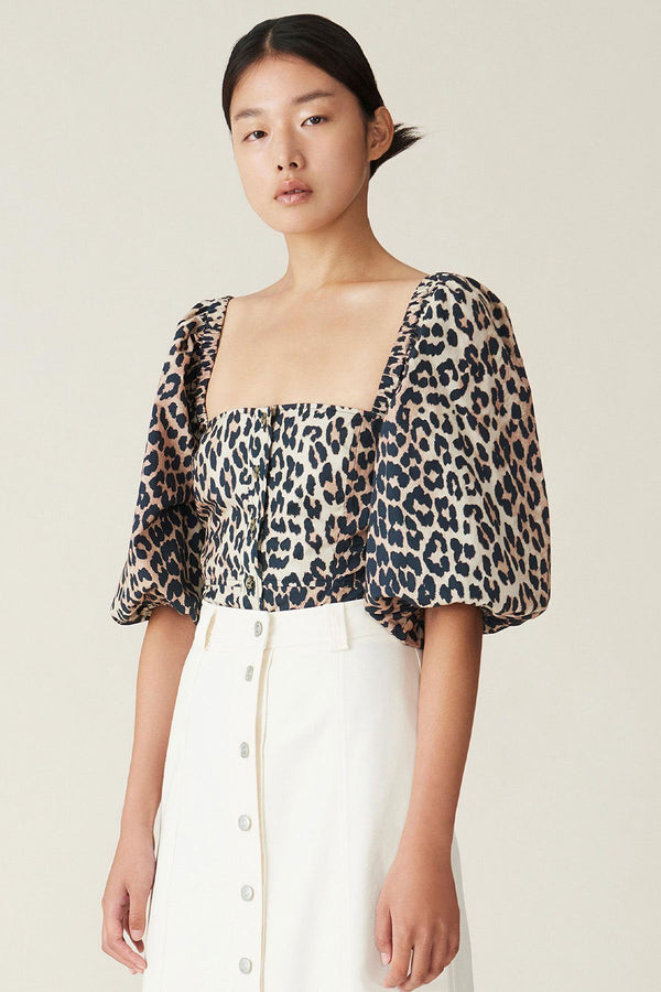 PRE-ORDERS - Printed Cotton Poplin Puff Sleeve Top Leopard