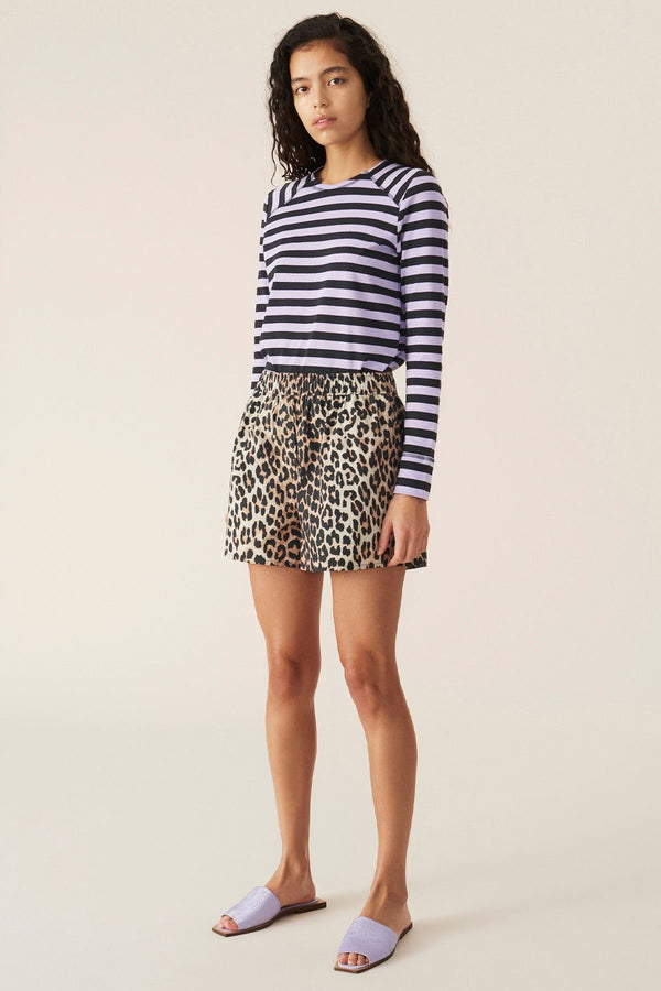 PRE-ORDERS - Printed Cotton Poplin Shorts Leopard